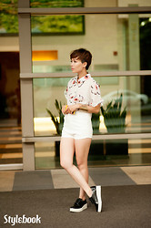 Stylebook V - Stylebook Sakura Flowers Shirt, Stylebook Short, Charles & Keith Flatform Wedges - THE DAY YOU LEAVE ME ...