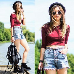 Agata P - Burgundy Off Shoulder Crop Top, Open Choker Necklace, Shorts, Boots, Backpack - ..And Smiles You'll Give And Tears You'll Cry..