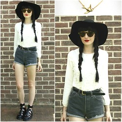 Kayleigh B - Oasap Crocheted Front Chiffon Blouse, Swallow Necklace, Dr. Martens Geraldo Sandals - My Generation