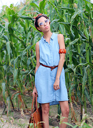 Marivette Navarrete - H&M Denim Shirtdress In Light Wash, Zerouv Designer Inspired Women's Round Cat Eye Sunglasses, H&M Handbag - Blue Denim Soul