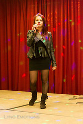 Tanya Wall - Leather Vest, Gift Black Dress, Miss Helen Tights, La Redoute Suede Biker Boots - Rock look for a rock music live show