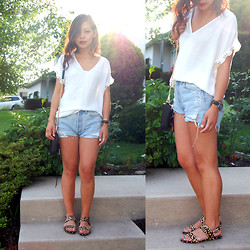 Kanree Moua - Joie Silk Blouse, Levi's® Shorts, Dolce Vita Sandals, Rebecca Minkoff Bag - When I Met You in the Summer.