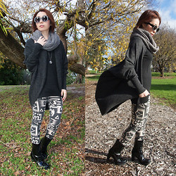 Shirley Z - Witchery Cycle Scarf, Bardot Grey Cardigan, Local Store Leggings, Local Store Black Boots - BLACK WIDOW