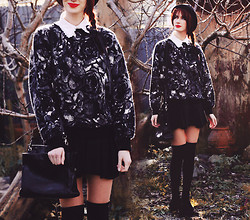 Natalie Jane - Thrift Store Black And White Rose Jumper, Thrift Store Leather Bag - Winters tale