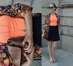 Simona Slavova - Tiger Sunnies, H&M Croptop, Pull & Bear Skaterskirt, H&M Moccasins, Unknown Jacket, Secondhand Bag, Mohito Necklace, H&M Ring - Summerish