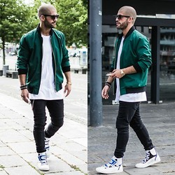 Kosta Williams - Vmu London Bomber Jacket, H&M White Tee, Zara Biker Jeans, Raf Simons Velcro - Green Bomber