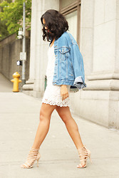 Kim Seidensticker - Vintage Jean Jacket, Dolce Vita Lace Dress, Nasty Gal Strappy Heels - Summer combo: denim + lace