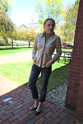 Alexis - Theory Blouse, Jeans, Black Pointed Toe Pumps - *indiana jones theme song*