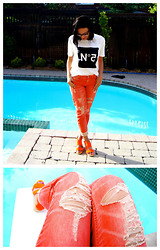 Raquel J - Rehab No. 5 Shirt, Dittos Orange Ripped Jeans, Browns Neon Orange Wedges - JULY