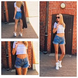 Meryl M - Levi's® Vintage Shorts, H&M Crop Top, Nly Black Gardigan, Rebecca Stella For Nelly Walk Of Fame Sneakers - CROP DA TOP