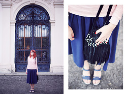 Evelyn Moon - Bershka Leather Bag, Asos Navy Dress, Stradivarius Platform Sandals - The vertigo of bliss