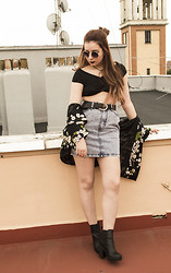 Be Hepburn - Oasap Sunnies, Wholesale7 Top, Ark Skirt, Frontrowshop Kimono, Ark Boots - 039