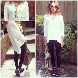 Chloe H - Topshop Oversized Shirt, Topshop Joni Jeans, Topshop Bag, Ebay Chunky Sandals, New Look Holographic Sunglasses - Mermaid Eyes