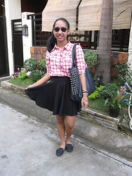 Aileen A. - What Women Want Red Clubmaster, Plaid Button Down, Skater Skirt, Black Studded Bag, Random Bracelets, Parisian Studded Loafers - Yo Ho, Let's Go!
