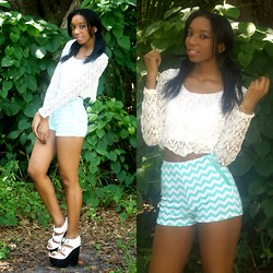 Alexa C - Crop Top, Zigzag Shorts, Shoe Cult Platforms - Hello Beautiful