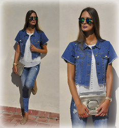 Amina Allam - Giant Vintage Mirror Sunnies, Choies Short Sleeve Denim Waistcoat, Zara Sleeveless Top, Bcbg Clutch, Zara Destroy Jeans, La Redoute Oxford Flats - Comeback in denim - giveaway on my FB
