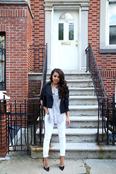 Erica Lavelanet - Frontrowshop Black Cropped Jacket, Dex Button Up Blouse, Express White Jeans - White Jean Wonder