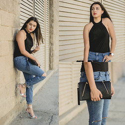 Avi Valencia - Diy Ripped Jeans, Dsw Silver Heels, Forever 21 Black Clutch - The ripped Jeans