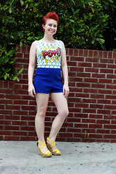 Jamie Rose - Papaya Pow Cartoon Print Top, Forever 21 Blue High Waist Shorts, Target Yellow Wedges - Fauxhawk!