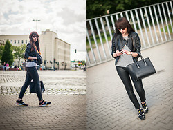Sylwia K. - Choies T Shirt, Choies Leather Pants, Adidas Zx700 Contemp, Goodlokin Leather Jacket - Sporty casual