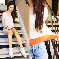 Josephine Ellen - Thrifted Top, Express Shorts, Guess? Sneakers - Simply Orange