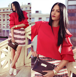 Konstantina Tzagaraki - Top, Skirt, Marni Purse, Flats - I close my eyes to indulge a sunset that never existed..