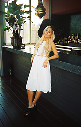 Rachel Lynch - American Apparel Black Sun Hat, Pylo White Maxi Dress, Yru Platforms - Sheltering Sky