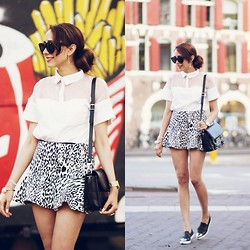 Virgit Canaz - Oasap Top, Miu Slipons, Proenza Schouler Bag - Casual in black And white
