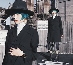 PYRRHICS † - Oasap Baroque Cross Earrings, Frontrowshop Gold Link Cuff, Comme Des Garçons Cage Coat, Asos Top With High Clean Neck, Leather Look Pleated Skirt, Sheer Polka Dot Socks, Jessicabuurman Chunky Platforms, Wide Brim Fedora - Almost out of sky