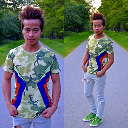 "Brian Peter - Markus Camouflage Shirt With Sided Symmetrical Design, H&M Ripped Skinny Jeans, Next Green Lace Up Sneakers - ""Color that Grow and Go"""