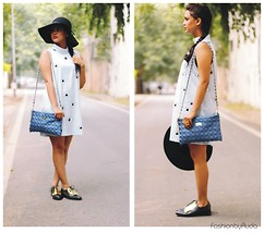 Ruchika Das - Romwe Eye Print Dress, Frontrowshop Brogue, Madame Clutch, Forever 21 Hat - Crazy Eyes: Eye Print Dress and Summer Hat