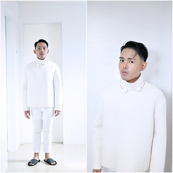 Karl Philip Leuterio - Frontrowshop Neoprene Sweater, Uniqlo Pants, Felt Wool Slide, Daiso Neckpiece - Post Summer + Pre Fall