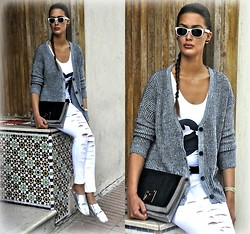 Amina Allam - Ray Ban Sunnies, Zealotries Oversized Cardigan, River Island Printed Bodyasuit, Hermès Belt, Fendi Clutch, Freya Ripped Jeans, Habous Market Moroccan Slippers - Sunday in Moroccan slippers