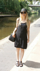 Gabriella B - Urban Outfitters Black Raffia Hat, Topshop Sunglasses, Topshop Black Swing Slip Dress, Clarks Patent T Bar Sandals - Over the Canal