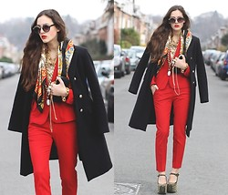 E V - Zara Suit, Jeffrey Campbell Prickly Shoes, Rhinestone Clutch - BLOOD ORANGE