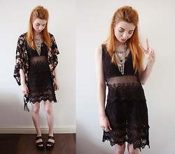 Hannah Louise - Missguided Kimono, New Look Sandals, Primark Necklace, New Look Crochet Dress - Festival Style with New Look