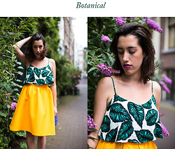 Charlotte Everaert - Topshop Botanical Top (Actually Dress), Topshop Sunflower Orange Midi Skirt - Botanical/Orange tree