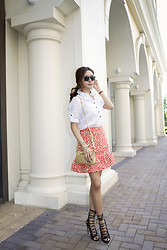 Christina Oh - Burberry Blouse, Aquazzura Firenze Shoes, Marc By Jacobs Skirt, Prada Bag - COOL & CASUAL