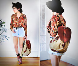 Sophia Mayrhofer - Thrifted Paisley Button Up, Thrifted Woven Belt, Thrifted Denim Cutoffs, Thrifted Leather Lace Up Boots, Forever 21 Black Hat, Kaukko Unisex Leisure Canvas Backpack - We must adventure in order to know where we truly belong