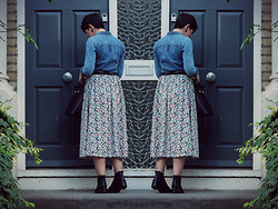LOLLI MAHON - Warehouse Floral Midi Skirt, Whistles Chelsea Boots - KEY IN THE DOOR.
