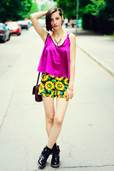 Evilish Queeny - Choies Cami Top, Choies Sunflower Shorts - Strap On