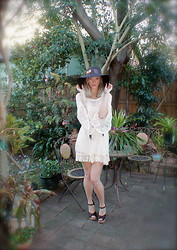 Emi B - Bcbg Hat, Lookbook Store Crochet Dress, Chloé Heels - Crocheted Dreams