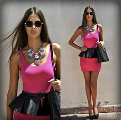 Amina Allam - Giant Vintage Sunnies, H&M Dress, Christian Dior Bag, Choies Faux Leather Peplum - Faux leather peplum