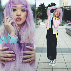 Anna Bell - Glassons Black Sheer Maxi Dress, Unif Pastel Leather Jacket, Elsie&Fred Hologram Platform Sandals, Elsie&Fred Gold Septum Ring, Scratch Flamingo Nails - Pastel Grunge.