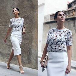 Milagros Plaza - Zara Embroidery Baby Blue Top, Asos White Midi Pencil Skirt, New Look Nude Sandals - Embroidery
