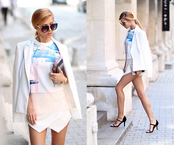 Sirma Markova - Sheinside Digital Print Split T Shirt, Choies Skort, Persun Ankle Strap Sandals, Choies One Button Slim Blazer, Choies Sunglasses With Metal Arrow In Black - Paint Splash