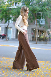 Barbara Ders - Zara Palazzo Pants, Lovelywholesale Shirt - DOTTED IN BROWN by BLOGTHEDREAMS