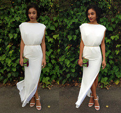 Ebony Boadu - Asos Long White Dress,   Thin Gold Chain, Handmade Kente Clutch, Lipstik White Sandal Heels - Classic
