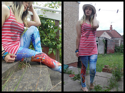 Angie M - Romwe Coca Cola Leggings, A By Atticus Bow Longline Vest, Asda George Pink Grain Trilby - Don't You Forget About Me