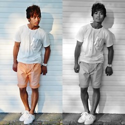 "Brian Peter - Ny Snake Skin Pocket White Shirt, Orange Shorts, Zara White Sneakers, Braided Belt Type Bracelet, Stainless Cross Necklace - ""Hide the alarm"""